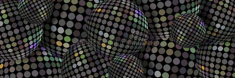 Предпосылка шариков 3d мозаики металла Hologram Картина радужных стальных сфер абстрактная Современное знамя веб-дизайна тенденци иллюстрация штока