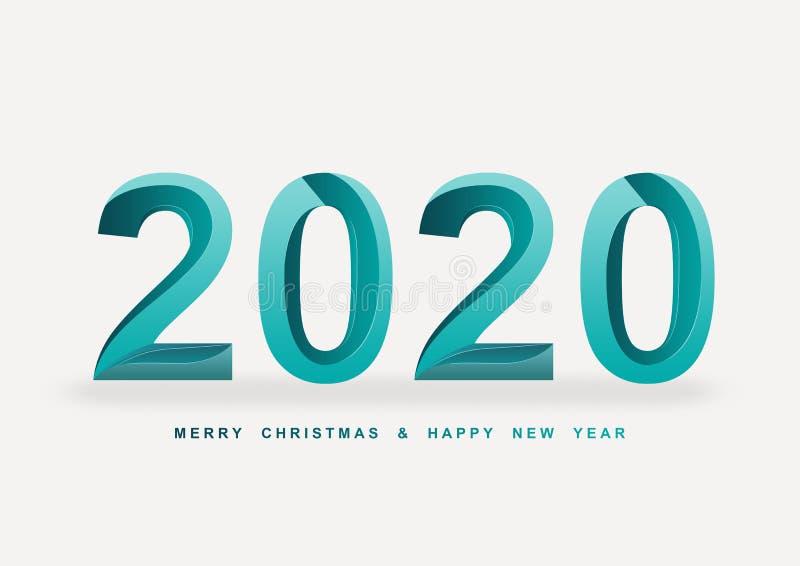 предпосылка шрифта зеленого цвета 2020 Новых Годов стоковое изображение rf