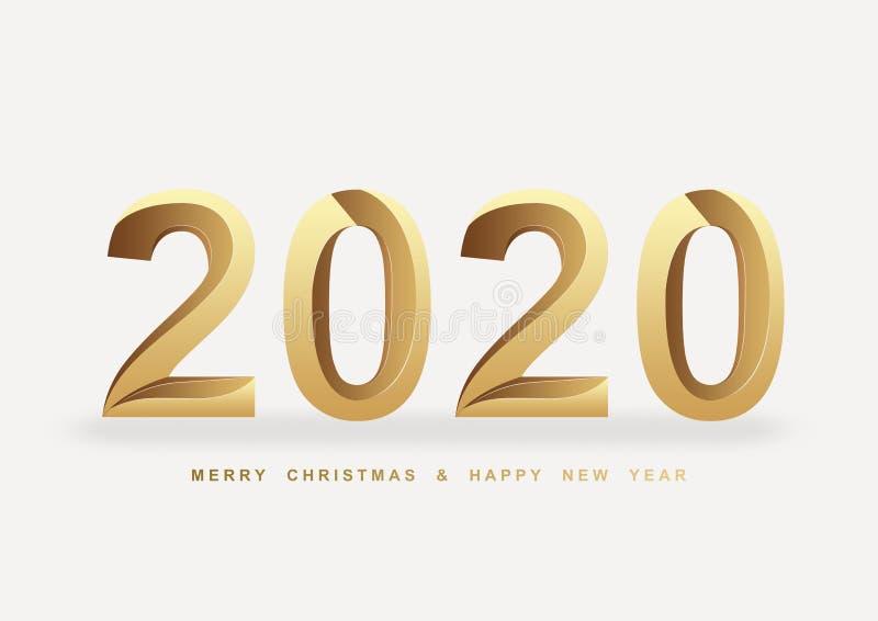 предпосылка шрифта 2020 Новых Годов золотая стоковые фото