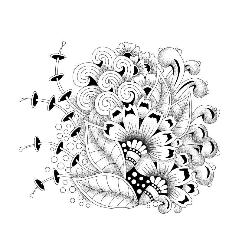 Предпосылка этнического флористического вектора конспекта Monochrome флористическая иллюстрация вектора