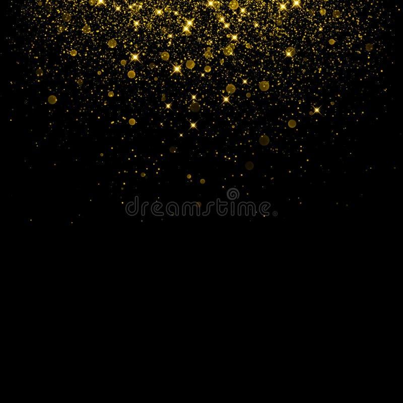 Предпосылка яркого блеска золота с confetti блеска искры иллюстрация штока