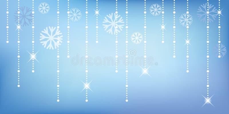 Предпосылка яркого блеска рождества и счастливого Нового Года голубая с снежинкой иллюстрация вектора
