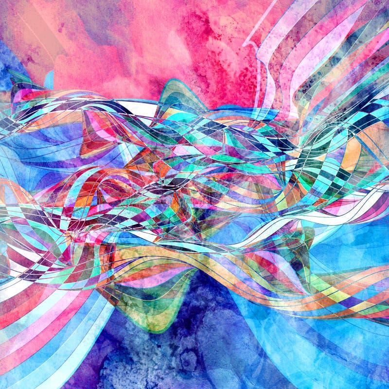 Предпосылка яркой акварели ретро с элементами другого цвета волнистыми иллюстрация штока