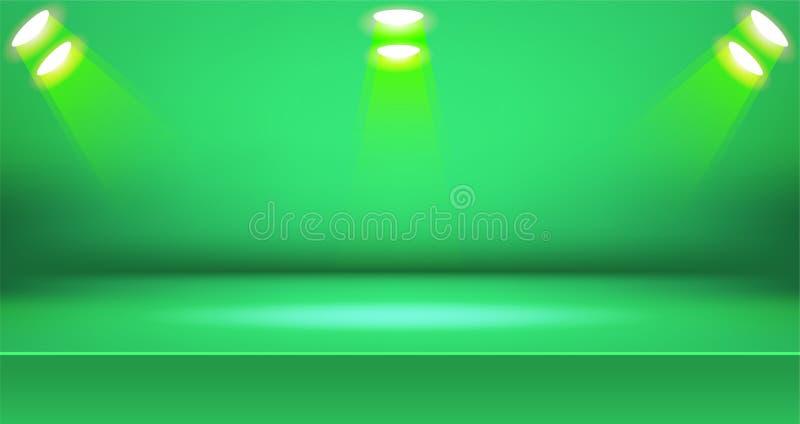 Предпосылка яркой комнаты этапа красочная, пустой дисплей продукта таблицы с космосом бесплатная иллюстрация