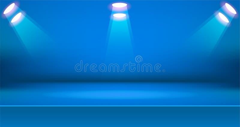 Предпосылка яркой комнаты этапа красочная, пустой дисплей продукта таблицы с космосом иллюстрация вектора