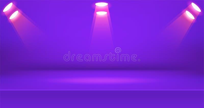Предпосылка яркой комнаты этапа красочная, пустой дисплей продукта таблицы с космосом иллюстрация штока