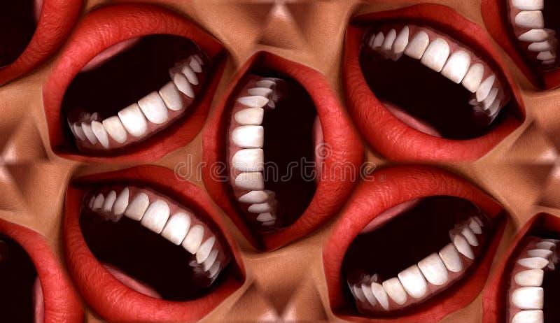 Предпосылка 3 картины плитки много ртов безшовная стоковые фото