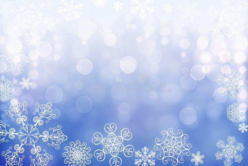 Предпосылка bokeh снега зимы конспекта рождества сияющая с уникальными снежинками стоковые фото