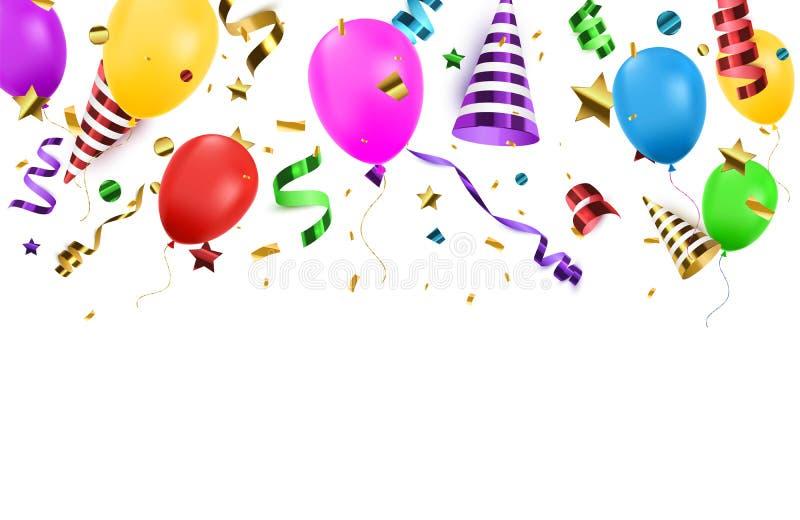 Предпосылка Confetti с изолированными poppers партии и воздушными шарами Предпосылка дня рождения также вектор иллюстрации притяж бесплатная иллюстрация