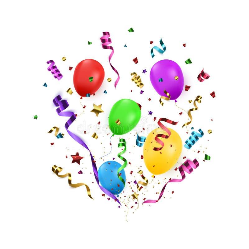 Предпосылка Confetti с изолированными poppers партии и воздушными шарами Предпосылка дня рождения также вектор иллюстрации притяж иллюстрация вектора