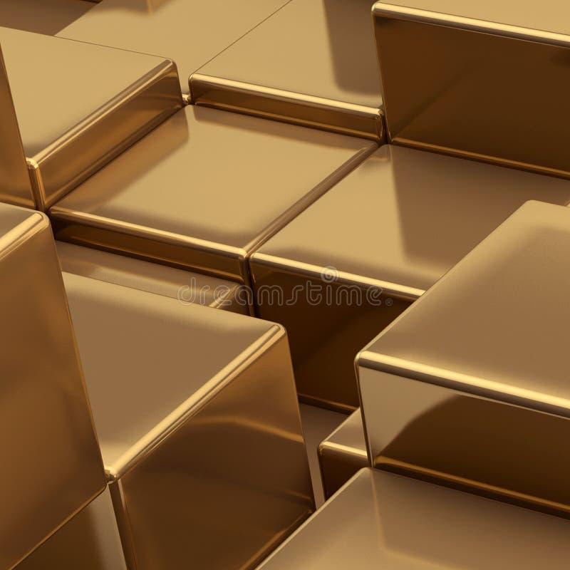 предпосылка cubes золото иллюстрация вектора