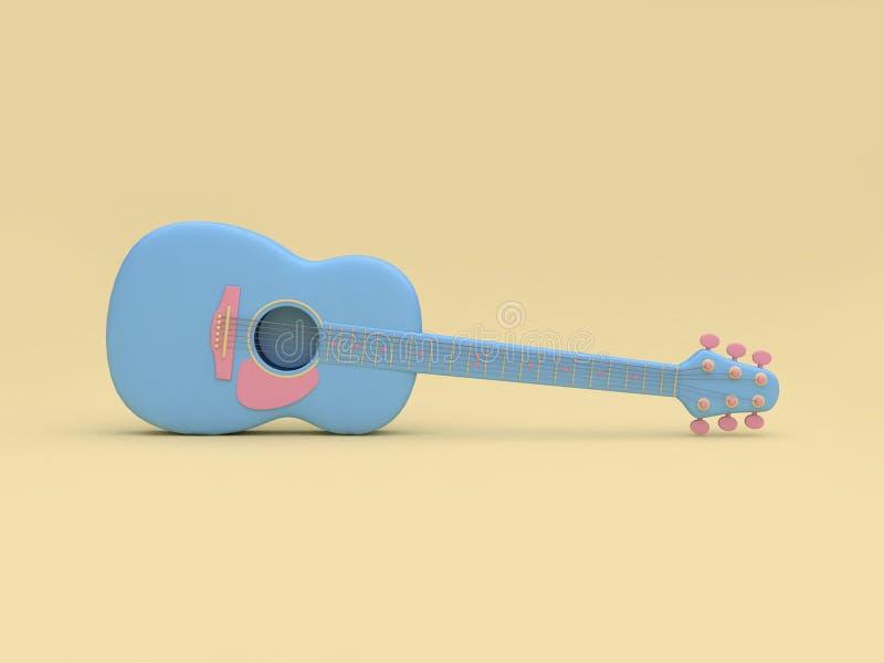 предпосылка 3d голубого стиля мультфильма гитары 3d мягкая желтая минимальная представить бесплатная иллюстрация