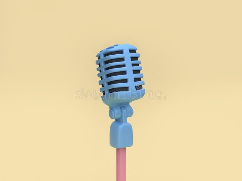 предпосылка 3d голубого стиля мультфильма микрофона 3d мягкая желтая минимальная представить иллюстрация штока
