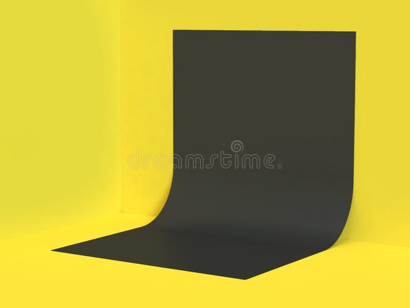 Предпосылка 3d желтой кривой формы бумаги черноты стен-пола угла сцены крив-пустой плоской минимальная желтая абстрактная предста иллюстрация вектора
