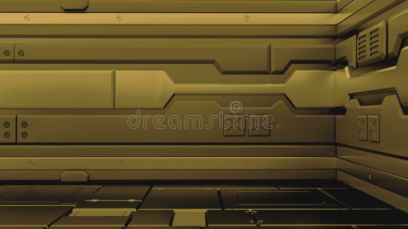 Предпосылка 3d коридора grunge научной фантастики металлическая представить иллюстрация штока