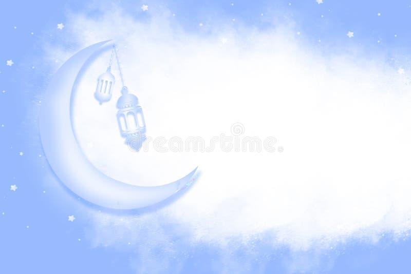 Предпосылка Eid Mubarak с сияющими луной и звездами бесплатная иллюстрация