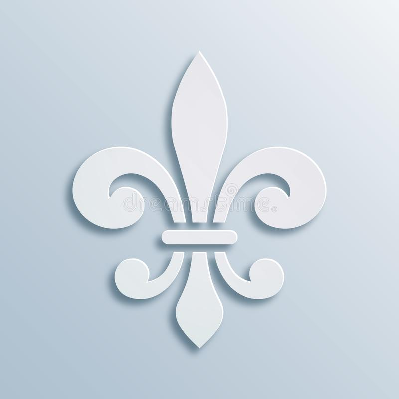 предпосылка Fleur-de-lis Символ французской геральдики Бумажная иллюстрация стиля Барельеф белого вектора геометрический, элегант бесплатная иллюстрация