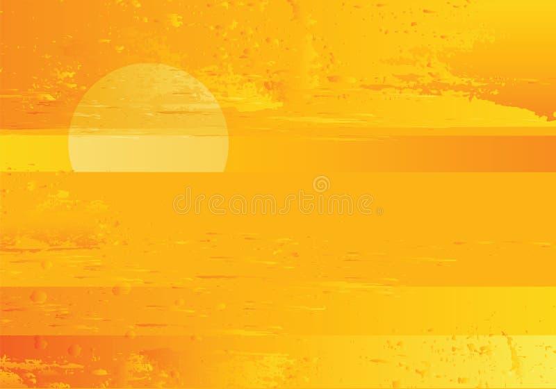 Предпосылка grunge абстрактного моря захода солнца золотистая иллюстрация штока