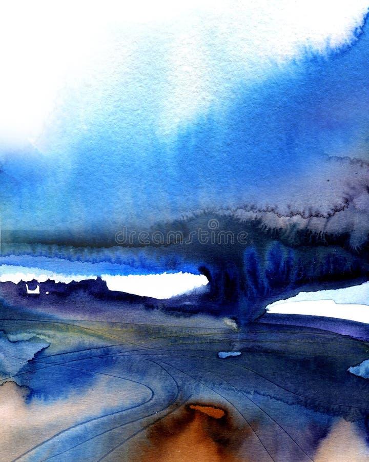 Предпосылка grunge темно-синего конспекта творческая покрашенная на текстуре бумаги, иллюстрации акварели руки вычерченной иллюстрация вектора