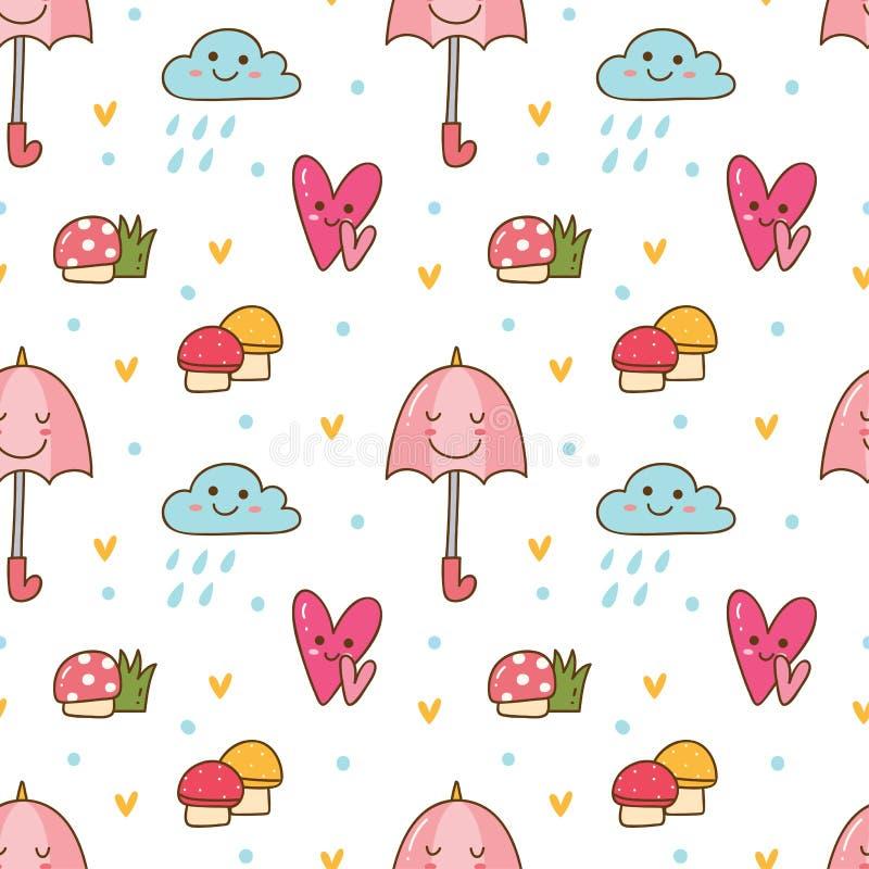 Предпосылка Kawaii безшовная с грибом, зонтиком и дождевым облаком иллюстрация штока