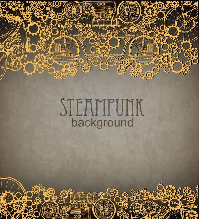 Предпосылка Steampunk Викторианская эра, стиль steampunk иллюстрация вектора