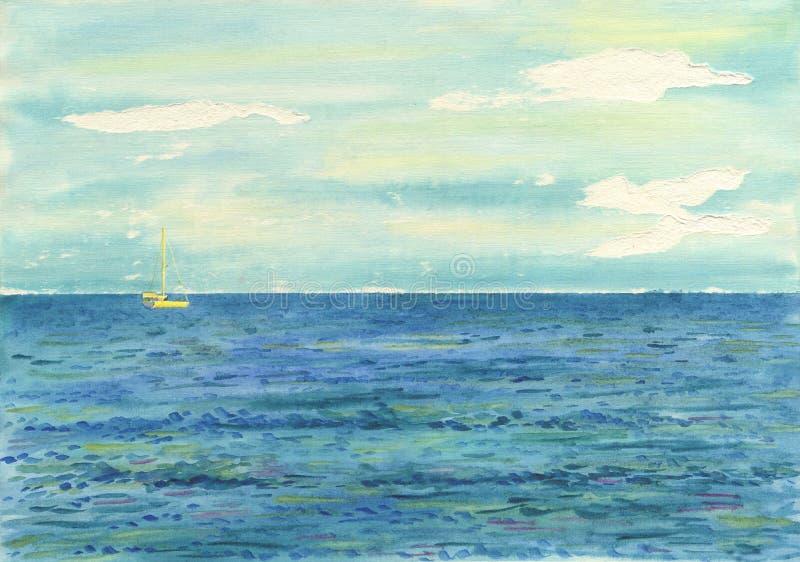 Предпосылка Watwrcolor Яхта плавая на море стоковое фото