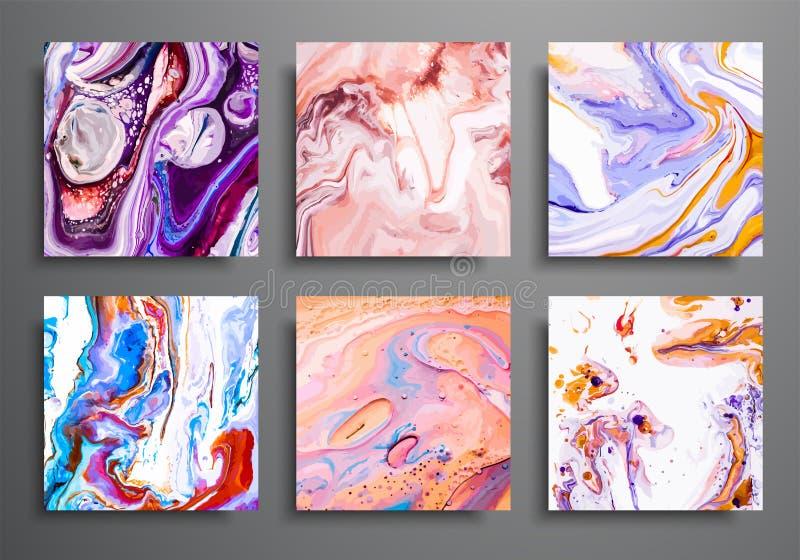 предпосылки динамически ультрамодные плакаты, установленные крышки рекламы Мраморное красочное влияние Абстрактный шаблон плаката бесплатная иллюстрация