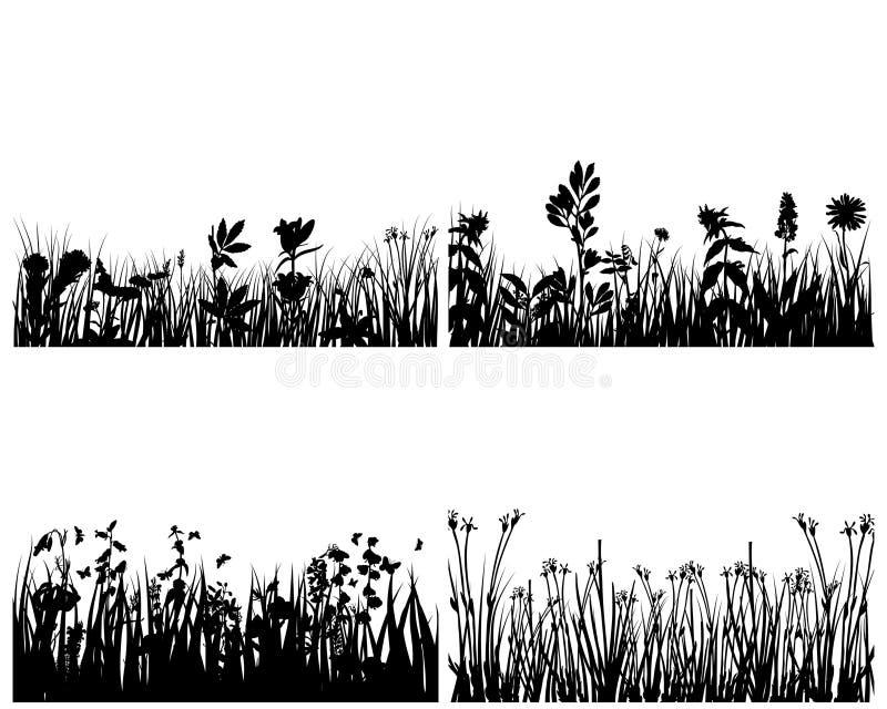 предпосылки засевают комплект травой иллюстрация вектора