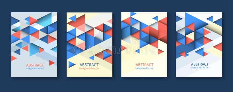 Предпосылки конспекта красочные геометрические триангулярные собрание шаблонов дизайна брошюры с красочное геометрическое триангу стоковые изображения