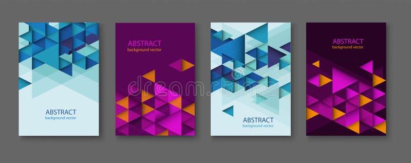 Предпосылки конспекта красочные геометрические триангулярные собрание шаблонов дизайна брошюры с красочное геометрическое триангу стоковая фотография