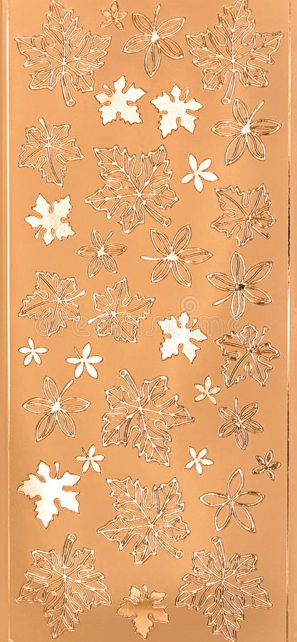Предпосылки листьев текстуры металла золота безшовные стоковое изображение