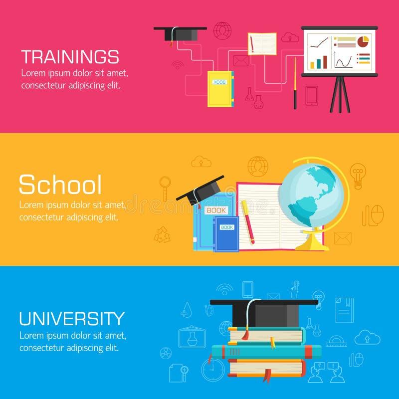 Предпосылки расстояния образования, онлайн и академичных школы изменений концепции в ретро плоском стиле конструируют Сеть и черн иллюстрация вектора