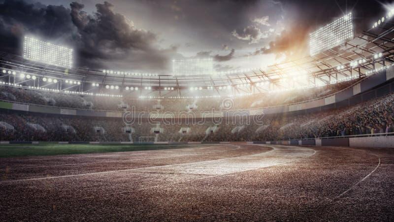 Предпосылки спорта стадион футбола paris 01 города 3d представляют иллюстрация штока