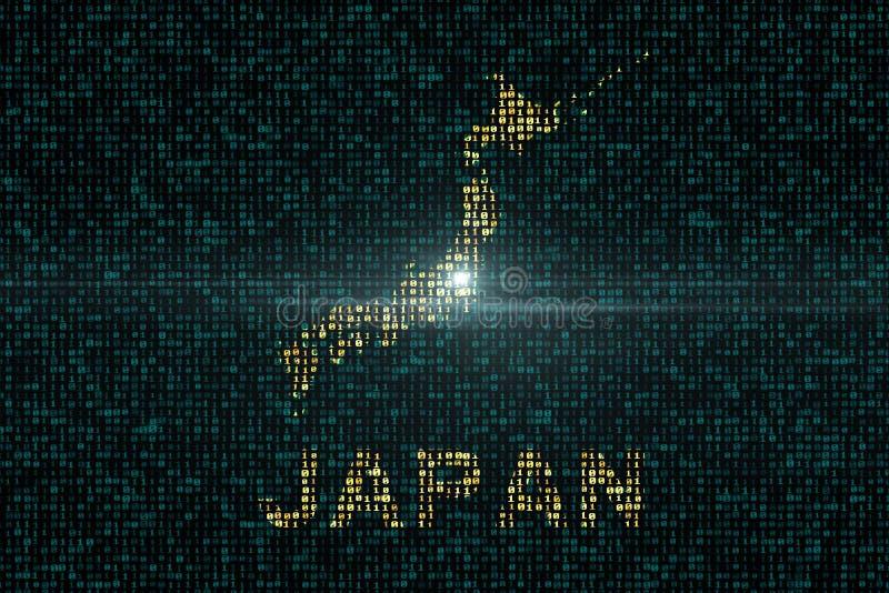Предпосылки цифров со страной карты Японии иллюстрация штока