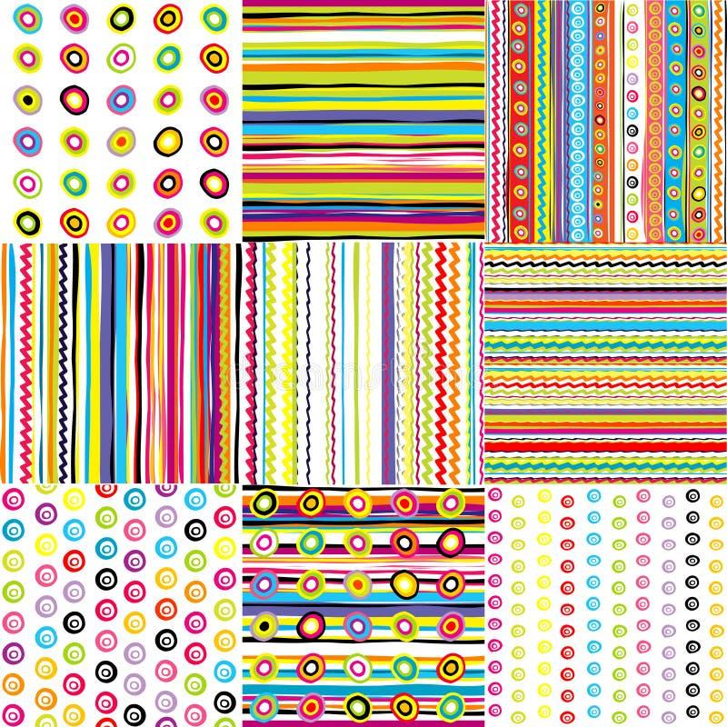 предпосылки doted установленными малышами striped иллюстрация вектора