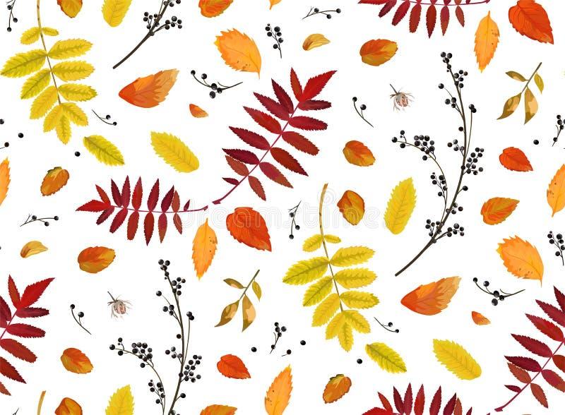 Предпосылки patten вектора осень стиля акварели безшовной флористическая бесплатная иллюстрация