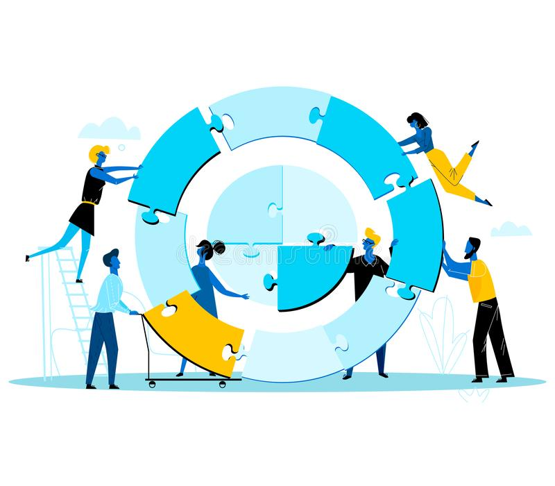 Предприниматели строя совместно огромную круглую головоломку иллюстрация штока