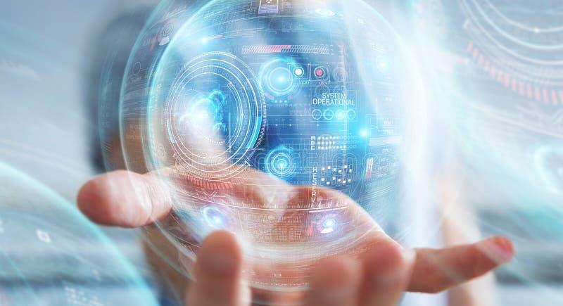 Предприниматель, использующий цифровой технологический интерфейс с отрисовкой данных 3D стоковая фотография rf