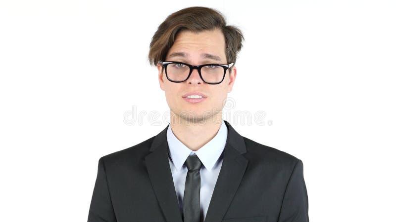 Предприниматель неудовлетворенный с его заработками, выгода, доход, допустимый предел стоковые фото