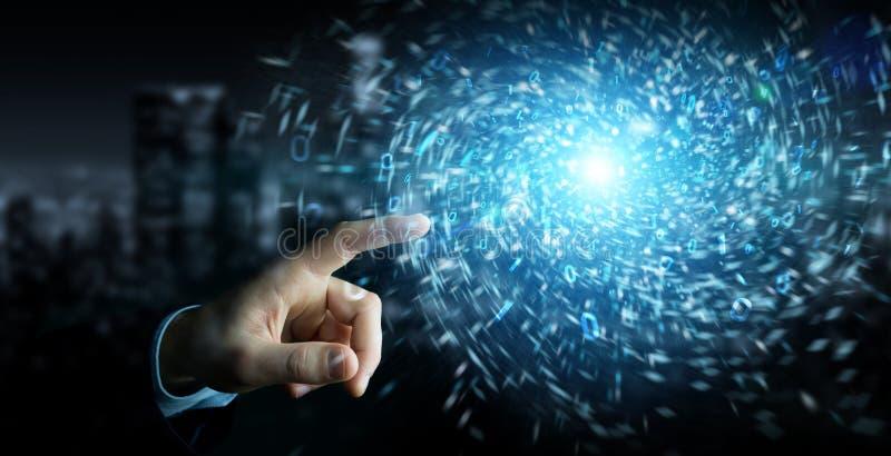 Предприниматель создает новый фьючеристический источник энергии 3D-отрисовка стоковое фото rf