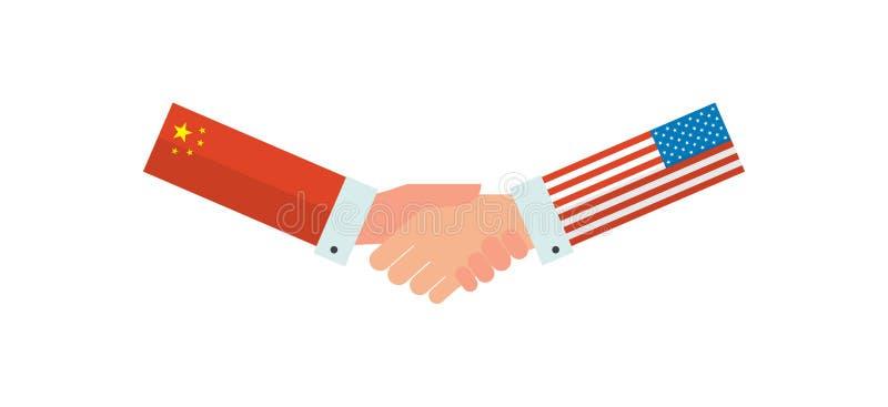 Представители США и Китая трясут руки перед американским и китайцы сигнализируют также вектор иллюстрации притяжки corel иллюстрация вектора