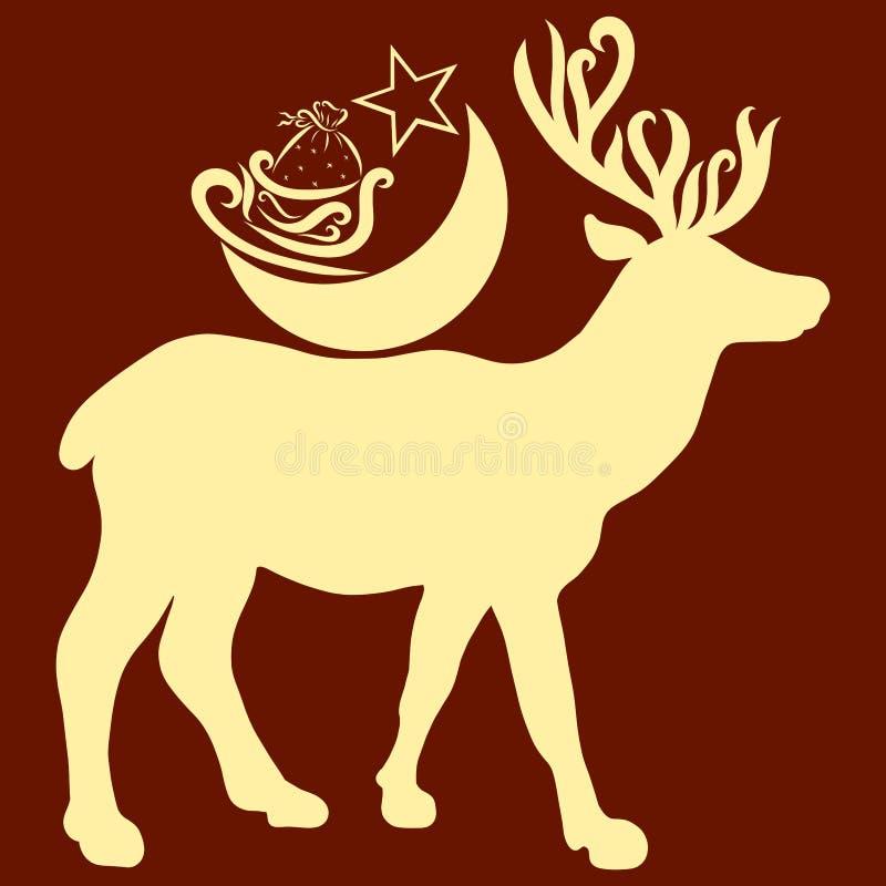 Представительные олени с луной, санями и подарками на задней части бесплатная иллюстрация