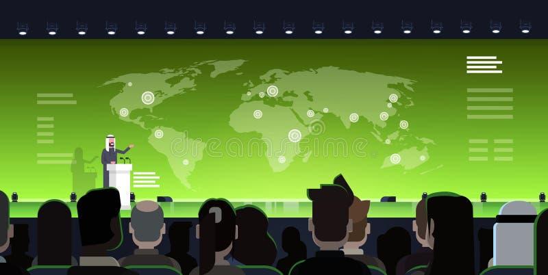 Представление бизнесмена или политика концепции встречи международной конференции арабское ведущее от трибуны над миром бесплатная иллюстрация
