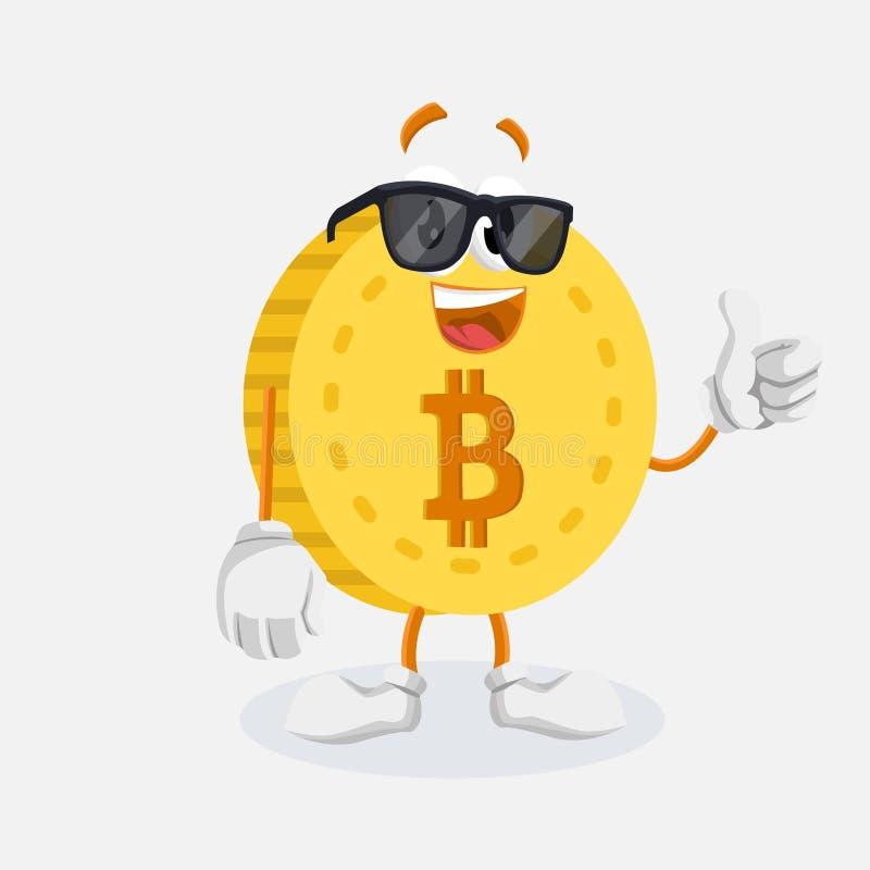 Представление большого пальца руки талисмана логотипа Bitcoin иллюстрация штока
