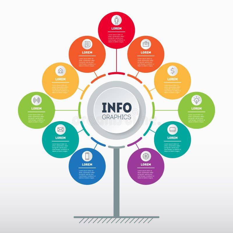 Представление дела или концепция infographics с 11 вариантом Шаблон сети дерева, диаграммы информации или диаграммы График данным бесплатная иллюстрация