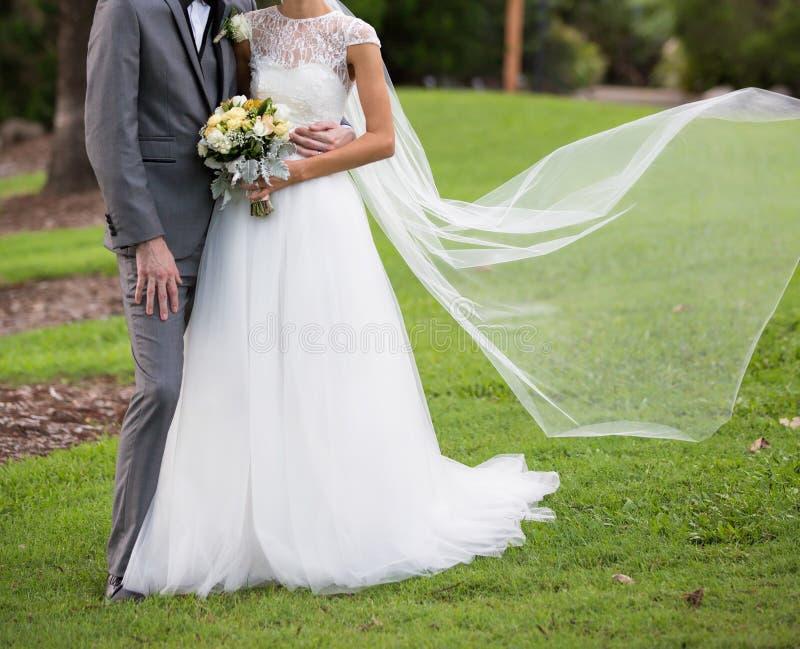 Представление жениха и невеста с пропуская вуалью стоковое изображение rf