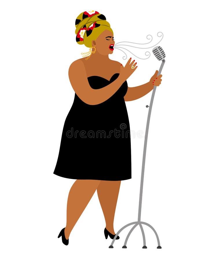 Представление женщины Афро американское, джаз певицы вокальный бесплатная иллюстрация