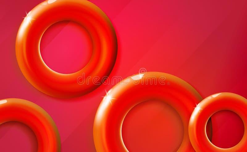 Представление запуска красной предпосылки колец лоснистое, круги тонов цвета шарлаха 3d дизайна сияющие реалистические живые Абст иллюстрация вектора