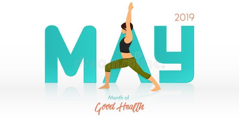 Представление йоги для знамени в мае Заголовок йоги по заведенному порядку для шаблона календаря Месяц концепции здоровий также в бесплатная иллюстрация