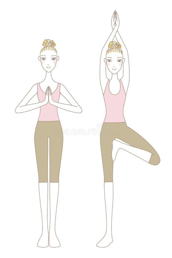 Представление йоги, женщины в представлении горы и дерево представляют бесплатная иллюстрация